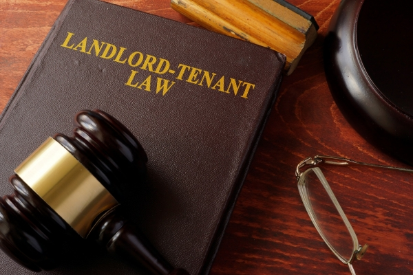 legal book discussing landlord-tenant law with a gavel on top of it